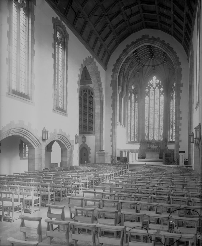 West Saville Terrace, Reid Memorial Church, interior. General view of Nave, Chancel and Altar from South West.