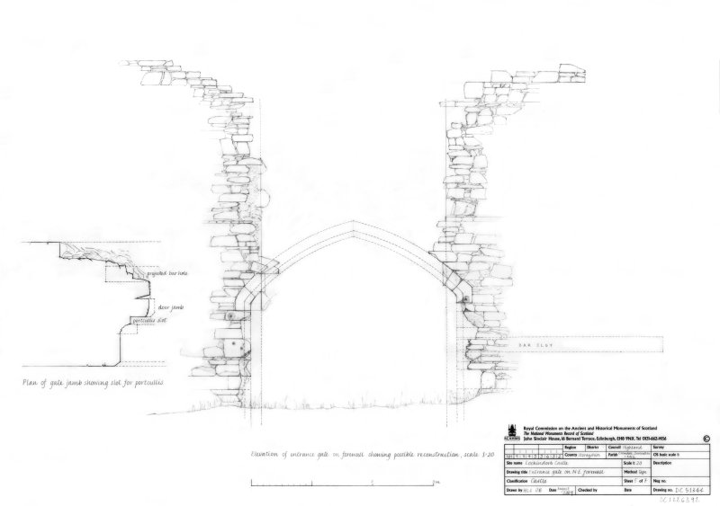 Entrance gate on North East Forewall, plan of gate jamb showing slot for portcullis and elevation of entrance gate on forewall showing possible reconstruction