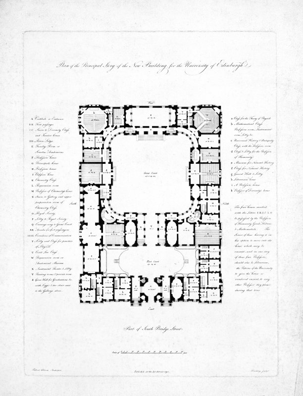 Engraved plan of Robert Adam's Design for Edinburgh University Original insc. 'Plan of the Principal Story of the New Building for the University of Edinburgh   Robert Adam Architect.  Published as the Act directs  1791   Harding Sculpt.' Copied from Naismith Edinburgh Album F.32