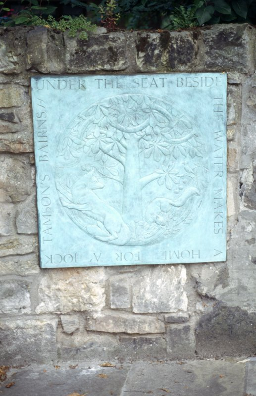 View of The Duddingston Panel, on wall about 100 yards from entrance to Holyrood Park on Old Church Lane.