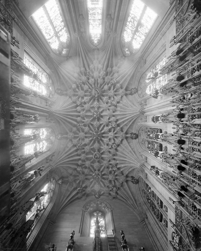 Interior-general view looking up towards the roof in Thistle Chapel