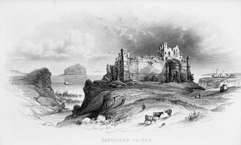 Engraving showing general view of Tantallon Castle from the South. Titled: 'Tantallon Castle'.