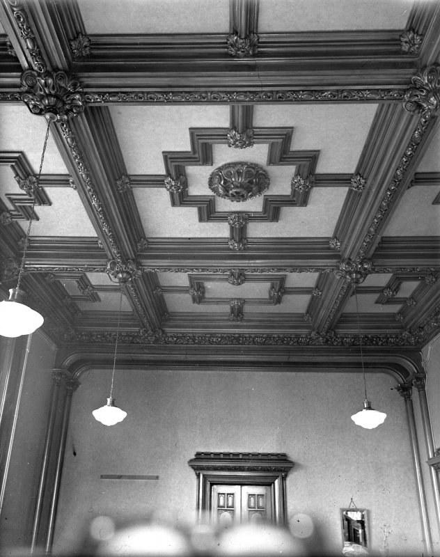 Interior. View of dining room ceiling.