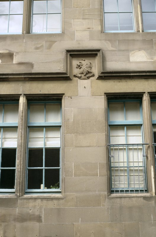 View of coat of arms of Scott, between ground and first floors.