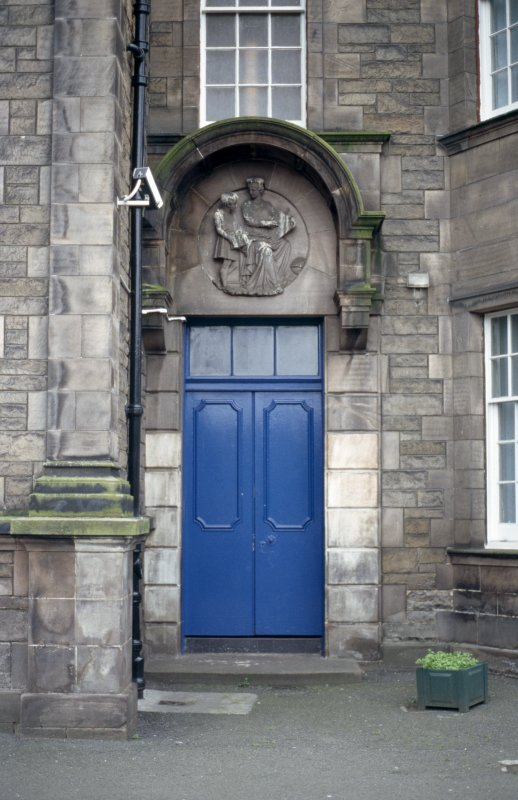 View of carving of 'Education', above girls' entrance.