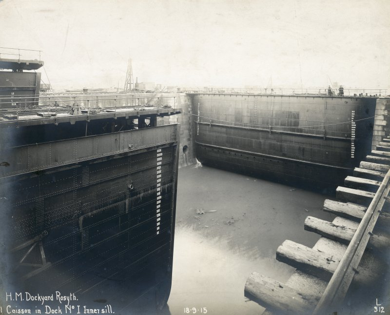 View of caisson Titled: 'H.M. Dockyard Rosyth. Caisson in Dock No 1 Inner sill. 18.9.1915'