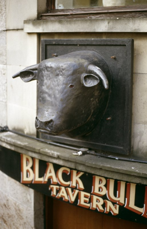View of bull's head sign, above entrance to the Black Bull Tavern, 43 Leith Street.