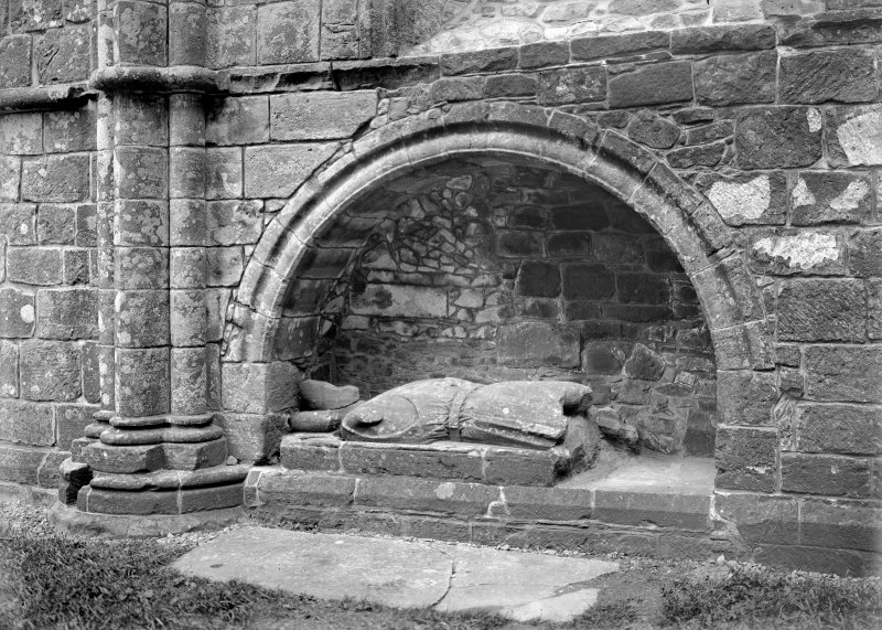 Interior. Detail of Galloway's tomb effigy.