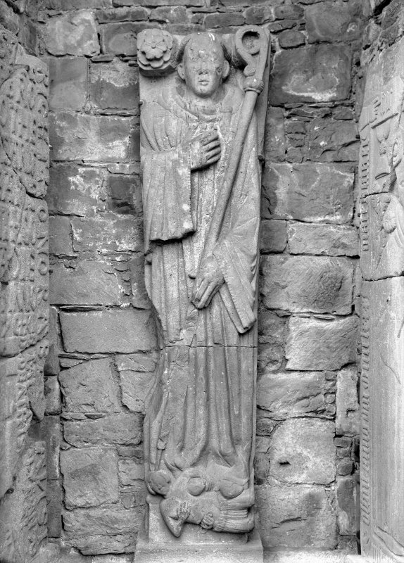 Detail of Abbot's monument effigy, Dundrennan Abbey.