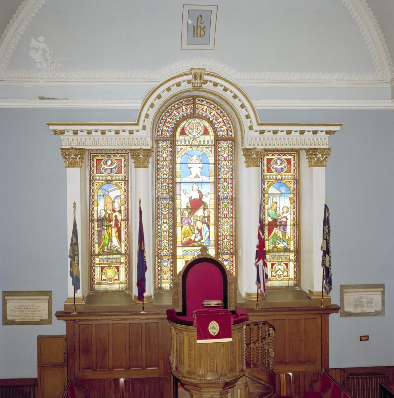 Interior, view of stained glass window in west wall