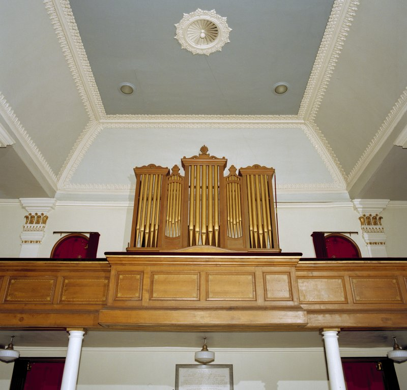 Interior, view of organ and ceiling decoration