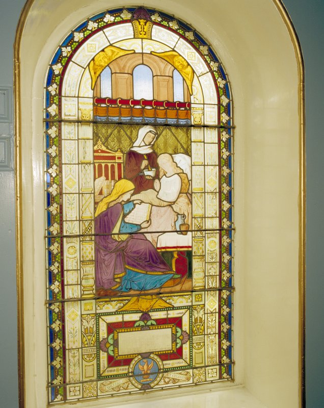 Interior, detail of stained glass window in east stairwell