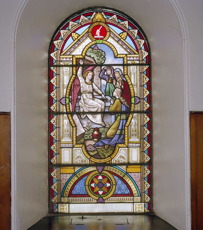 Interior, detail of stained glass window at balcony level