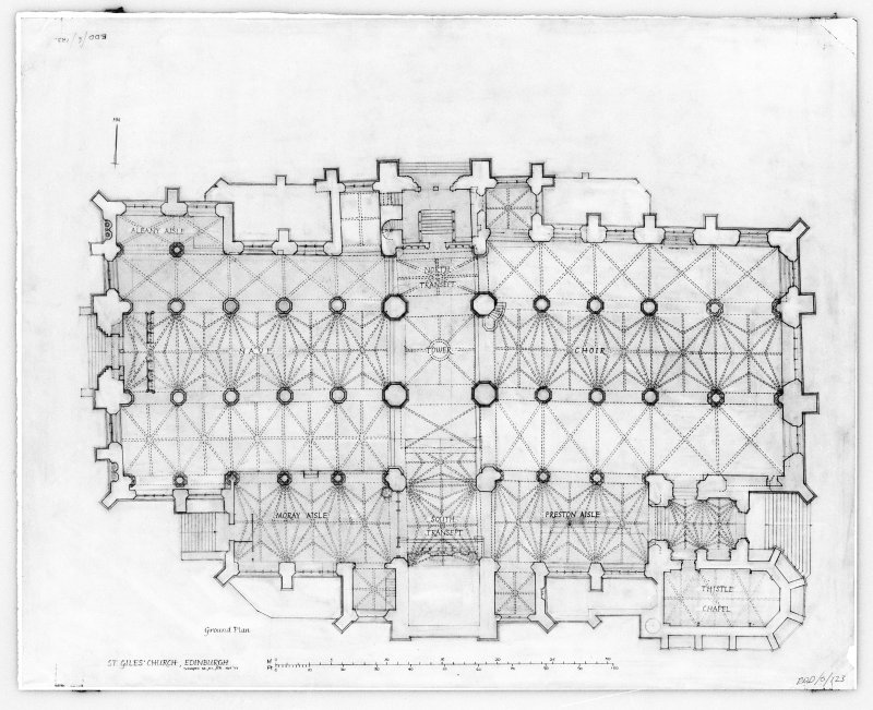 Photographic copy of drawing showing ground plan.