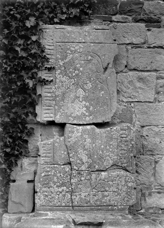 Detail of tombstone and slab of Lady of Orchardton.