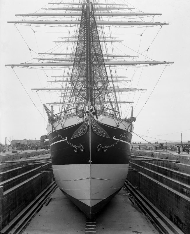 Kobenhavn: View of ship in dry dock, Henry Robb's shipbuilding yard. Built by Ramage and Feguson for the Danish East Asiatic Company.