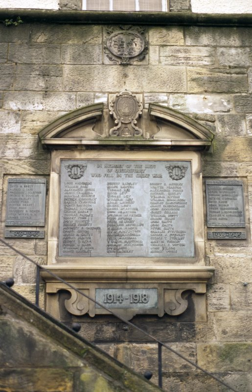 View of arms of Queensferry and war memorial, on lower part of tower.