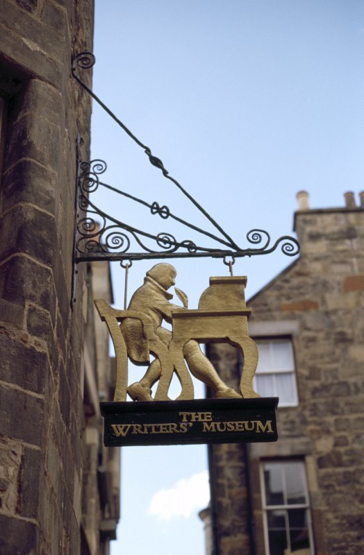 Detailed view of sign above entrance to The Writers' Museum (Lady Stair's House).