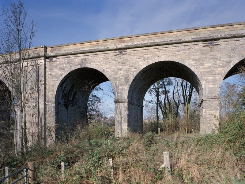 Detail of the Roxburgh Railway Viaduct arches at E end from S.