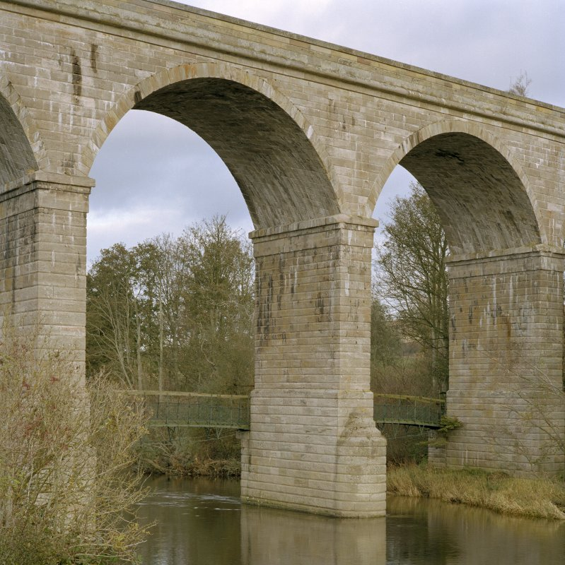 Detail of the central arches of the Roxburgh Railway Viaduct from the South West