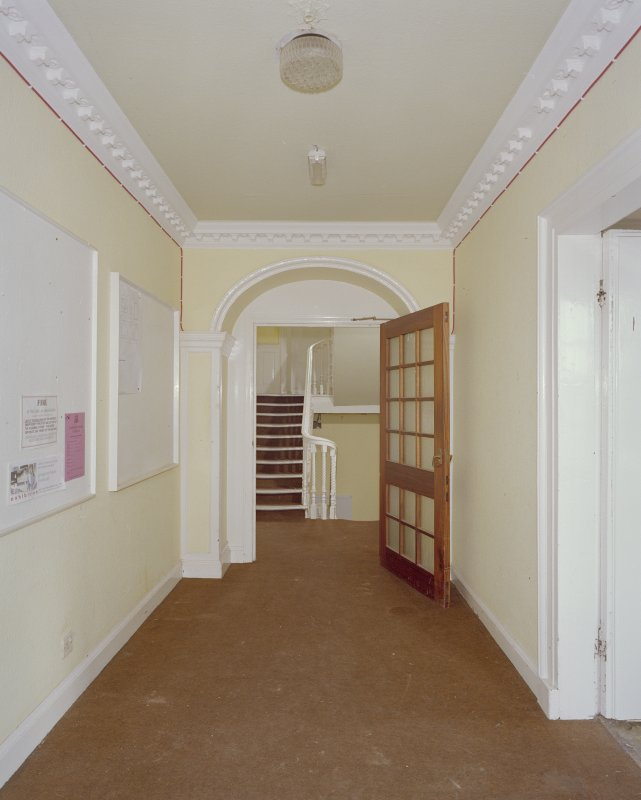 Interior, ground floor, hallway, view from west