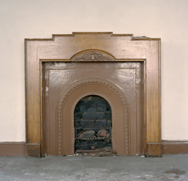 Interior, ground floor, north west room, detail of fireplace