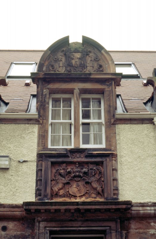 Detailed view of coat of arms of Leith (top) and Royal Arms of Scotland (below), on former Leith Hospital Nursing Home.