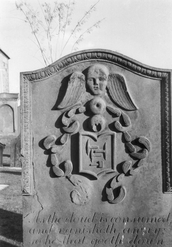 Detail of gravestone at St Regulus' burial ground, Monifieth.