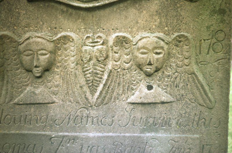 Detail of gravestone d. 1784 at St Regulus' burial ground, Monifieth.