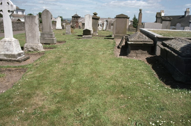 General view of gravestones in Errol Parish Church Graveyard.