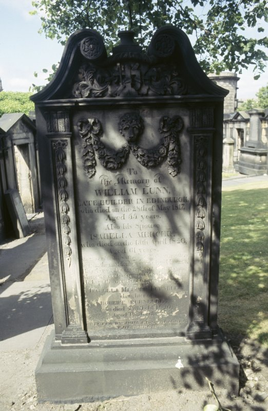 View of gravestone of William Lunn at Old Calton Burial Ground.