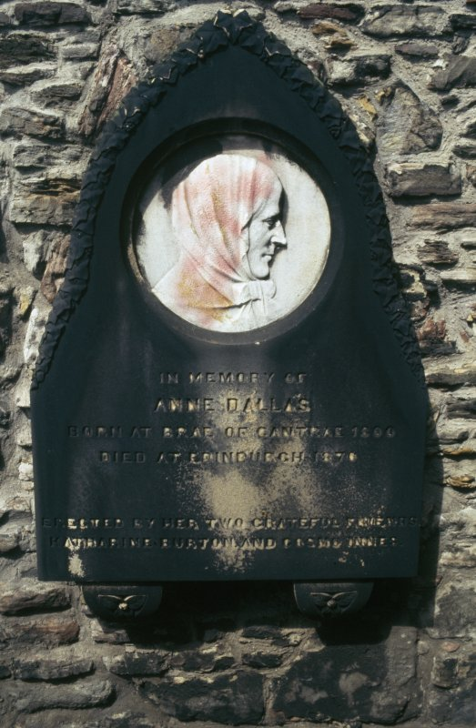 View of gravestone of Anne Dallas at Old Calton Burial Ground.