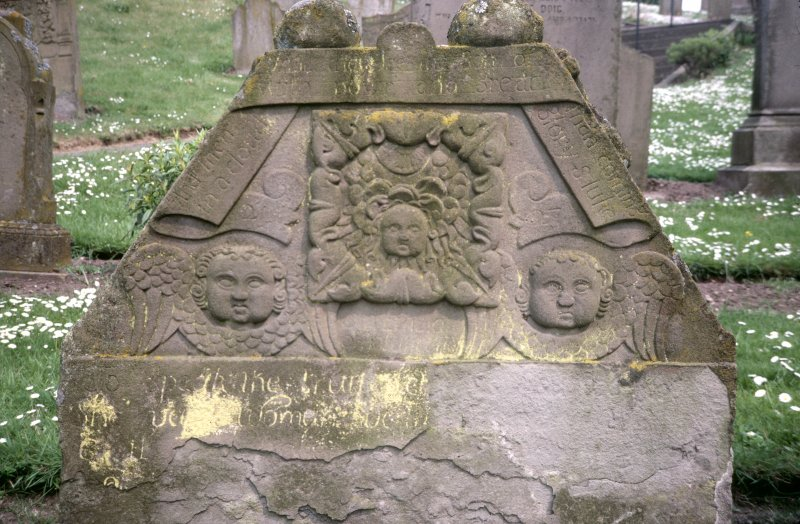 Detail of gravestone depicting winged souls at St Vigeans Parish Church and Churchyard.