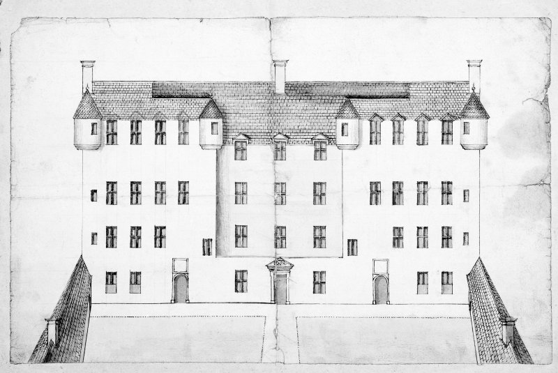 Traquair House Photographic copy of plan, in two parts, showing design to make front entrance symmetrical, with scale Inscribed: 'The Design of the House of Traquare', 'Designed this 27 Sept 1695', 'By J S'