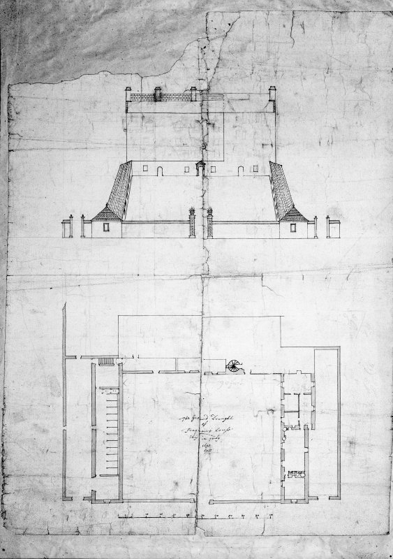 Traquair House Photographic copy of plan and perspective of entrance court, with scale