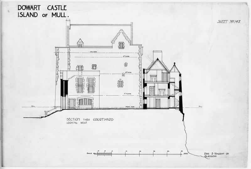 Photograph of drawing showing Section through Courtyard looking North West.
