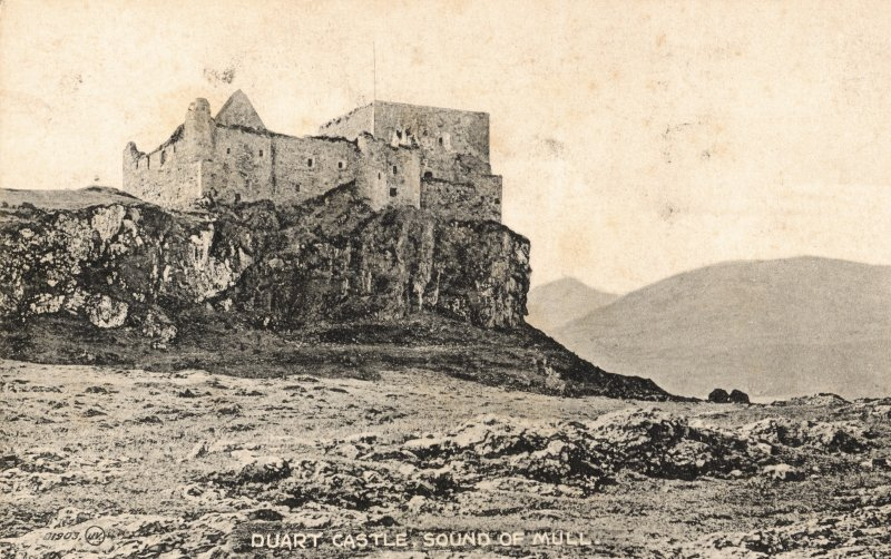 Mull, Duart Castle. General view from East. Insc. 'D1903  J.V.  Duart Castle, Sound of Mull'