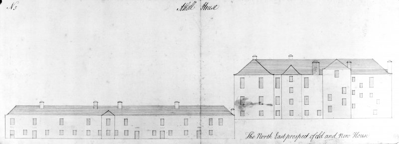 Blair Castle. Photographic copy of North-East elevation of old and new houses.