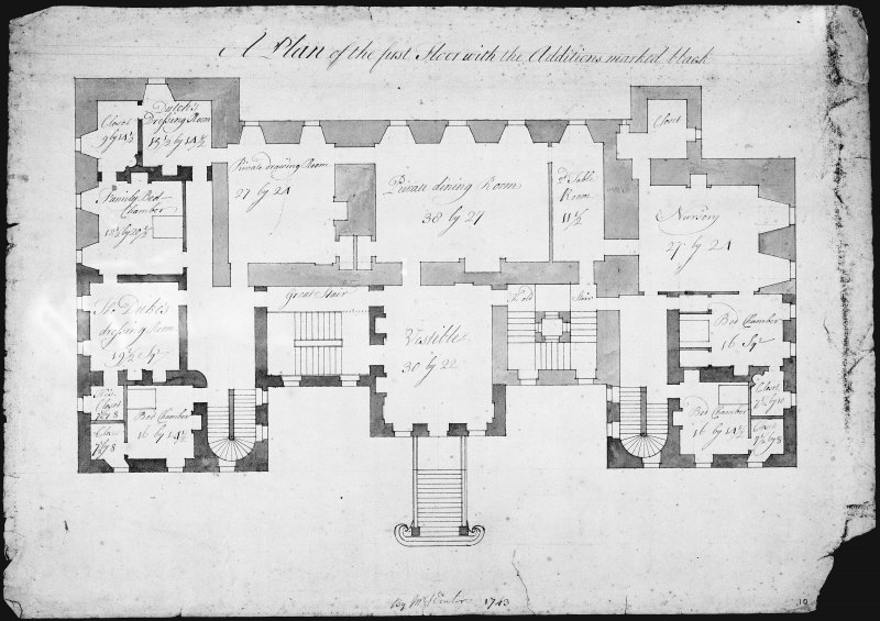 Blair Castle. Photographic copy of first floor plan showing additions.