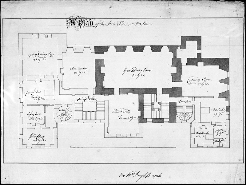 Blair Castle. Photographic copy of third floor plan of an addition.