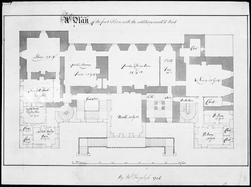 Blair Castle. Photographic copy of first floor plan of an addition.