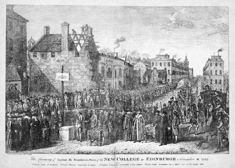 Engraved view of laying of the foundation stone of Old College looking North to Register House.