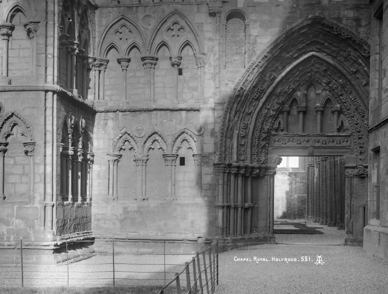 "General view of West end of Holyrood Abbey (Chapel Royal) Insc. ""Chapel Royal, Holyrood. 531. AI."""