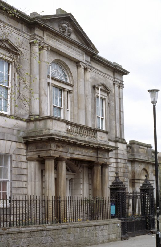 View of main facade of Trinity House, Leith, showing coat of arms in pediment.