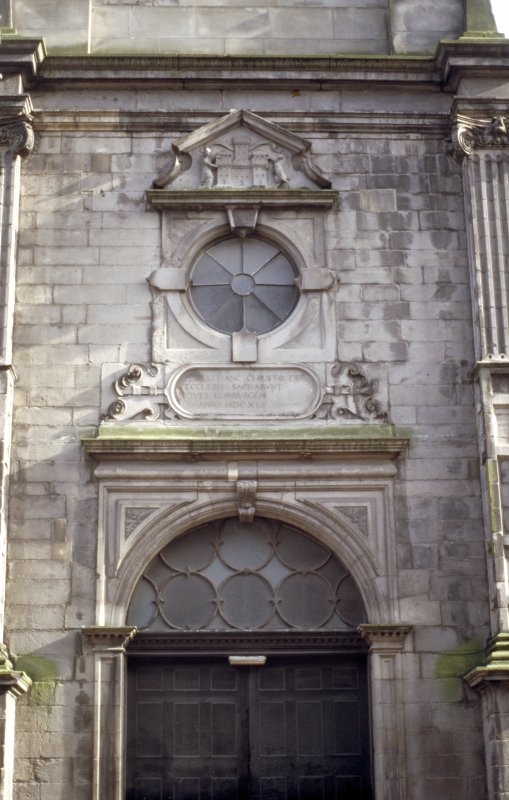 View of the Tron church, showing Edinburgh arms and inscription panel.