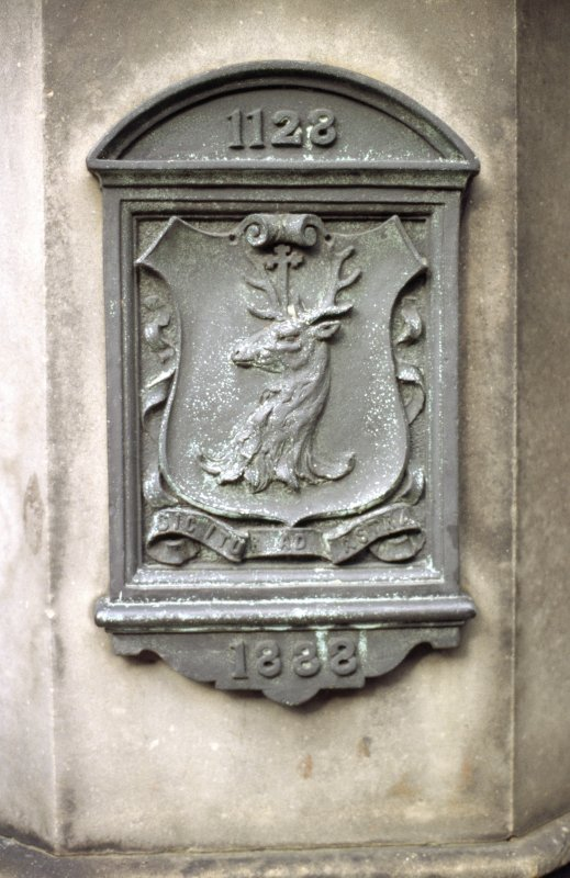 View of panel on Canongate Mercat Cross.