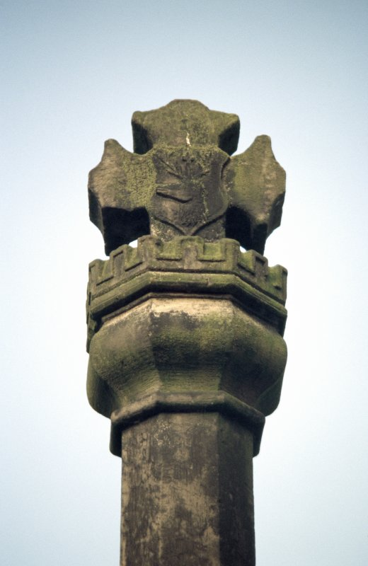 View of top of Canongate Mercat Cross.