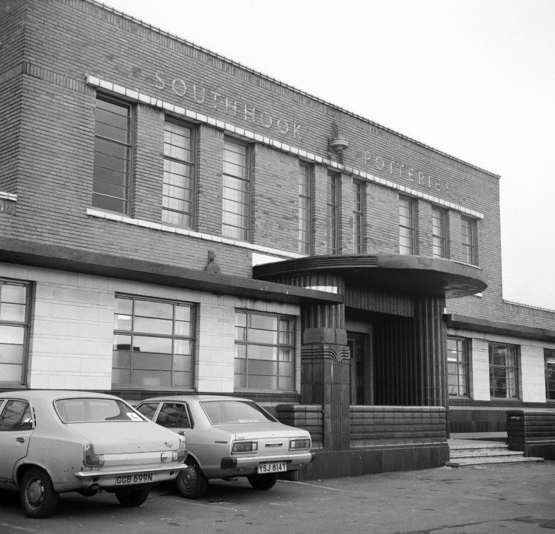 View of SE front of office block at Southhook Potteries, Kilmarnock.