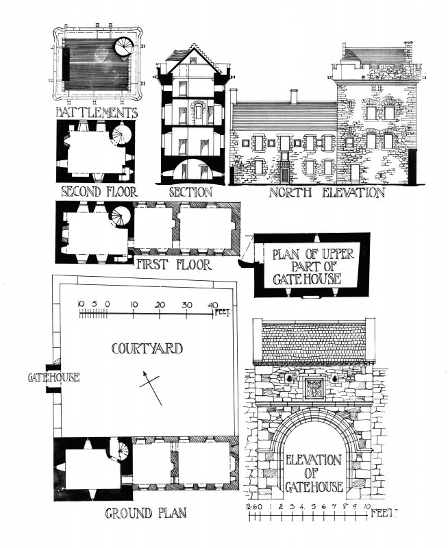 Drawing showing ground plan and elevation of Hills Tower gatehouse.