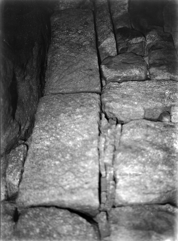 Interior view, showing carved stone in situ